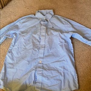 Blue and white plaid button up!